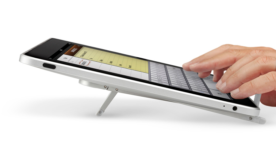 Slim Tablet Stand low angle typing