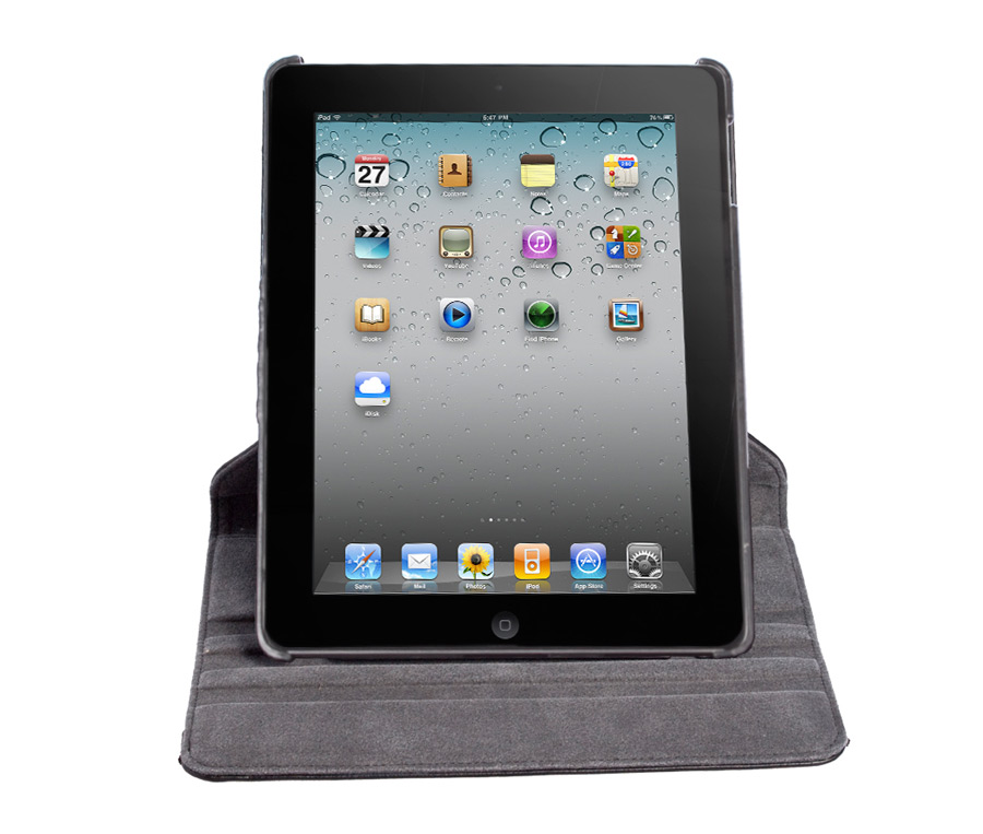 360° Rotating Folio Case & Stand for iPad 2/3/4 Front - Portrait