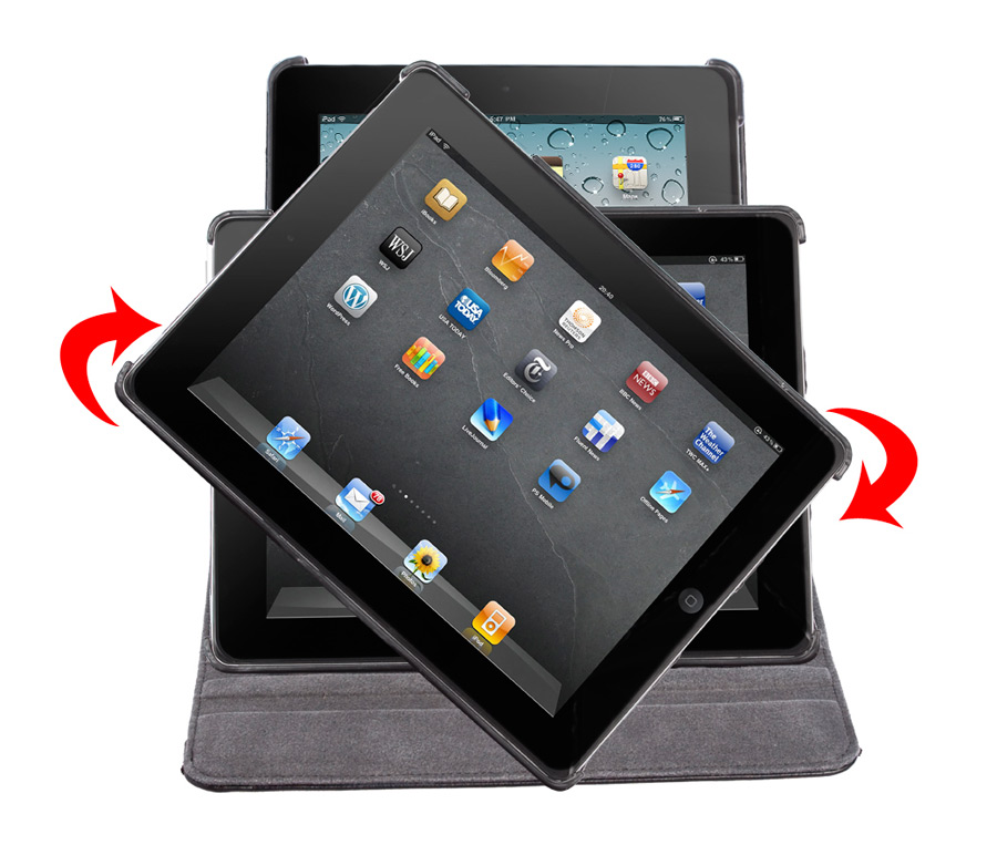 360° Rotating Folio Case & Stand for iPad 2/3/4 Front Rotating